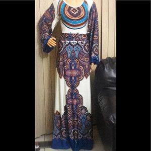 Handmade multicolored dress kaftan style